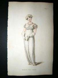 Ackermann 1812 Hand Col Regency Fashion Print. Evening Full Dress 7-19